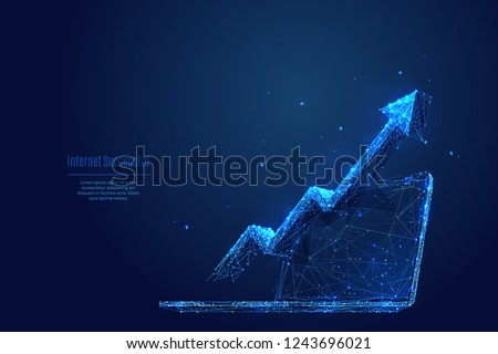 Vector arrow up on laptop. Abstract image of Financial growth in the form of a starry sky or space, consisting of points, lines, and shapes in the form of planets, stars and the universe. RGB Color