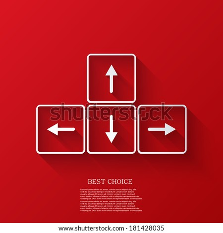 vector arrows buttons keyboard on red background