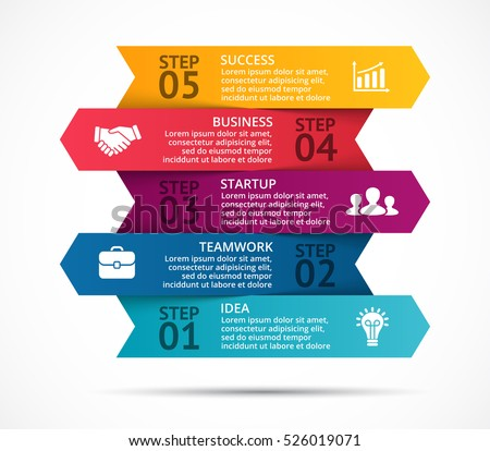 Vector arrows 3D infographic, diagram chart, graph presentation. Business startup concept with 5 options, parts, steps, processes. Info graphic data template. Abstract background.