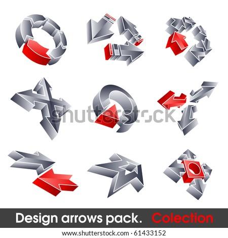 Vector arrows. Design elements. 3D symbol for your artwork.