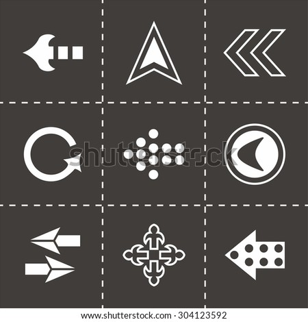 Vector Arrows icon set on black background