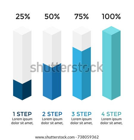 Vector arrows infographic, diagram chart, 3D column graph presentation. Business infographics concept with options, parts, steps, processes. Growth percents 25, 50, 75, 100. Loading status.