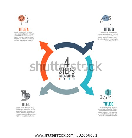 Vector arrows infographic. Template for cycle diagram, graph, presentation and round chart. Business concept with 4 options, parts, steps or processes. Data visualization.