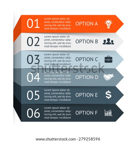 Vector arrows infographic. Template for diagram, graph, presentation and chart. Business stairs concept with 6 options, parts, steps or processes. Abstract background.