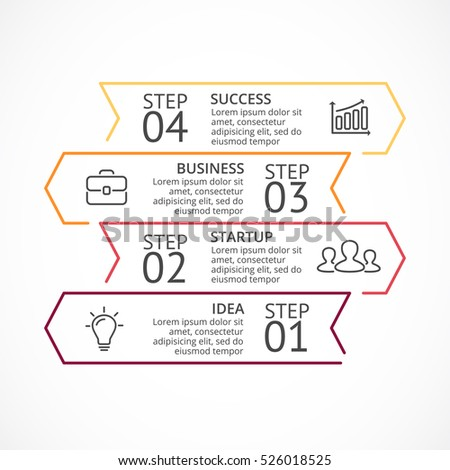 Vector arrows minimal infographic, flat diagram, linear graph, presentation, layered chart. Business direction concept with 4 options, parts, steps, processes.