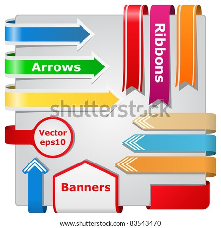 Vector Arrows, Ribbons and Banners