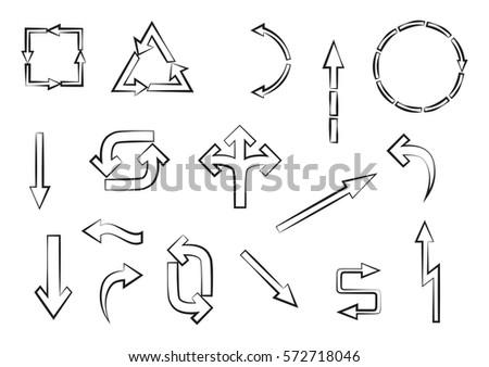 Vector arrows set.Doodle arrows.