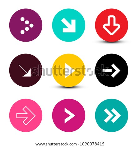 Vector Arrows Set in Colorful Circles Isolated on White Background #1090078415