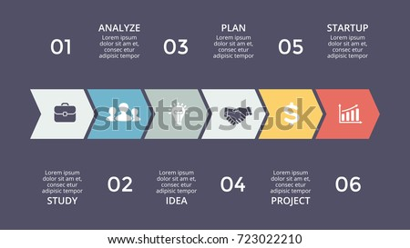 Vector arrows timeline infographic, diagram chart, graph presentation. Business infographics progress concept with 6 options, parts, steps, processes.