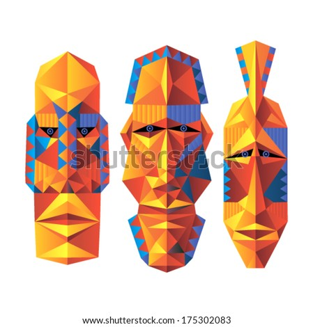 Vector art - African masks (set)