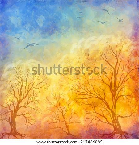 vector art autumn landscape as