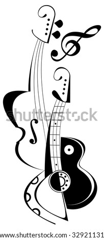 Vector art collage of string musical instruments - guitar and viola. Isolated line work image on white background.