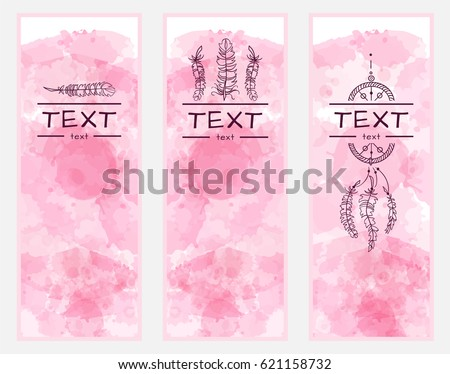 Vector art, consist of tree module. Set of templates for banners, dividers, bookmarks or cards with beautiful boho style art. Feathers, lilac lace elements on stylized pink watercolor backgrounds