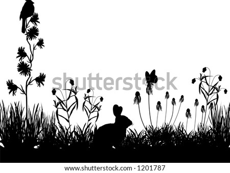 vector art depicting a meadow silhouette scene