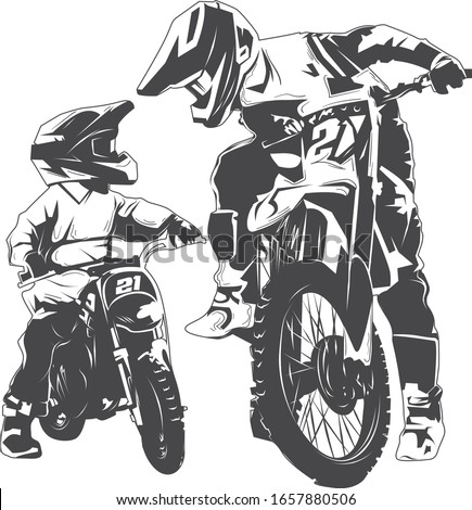 Vector art drawing Dad and Son motorbike best friend Stock photo ©
