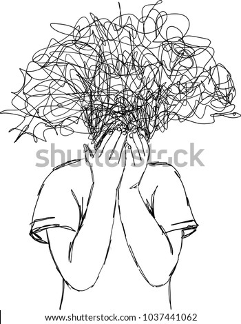Vector art drawing of child putting hands off the page. It may be because of regret or anxiety and stress, boy covered his face with his Doodle hands with Doodle head