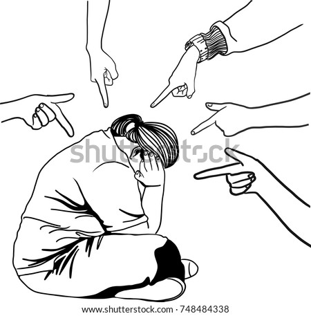 Vector art drawing of Concept of accusation guilty person. Vector of a sad young woman sitting on floor many fingers pointing at her isolated on white background, fat woman closes her ears