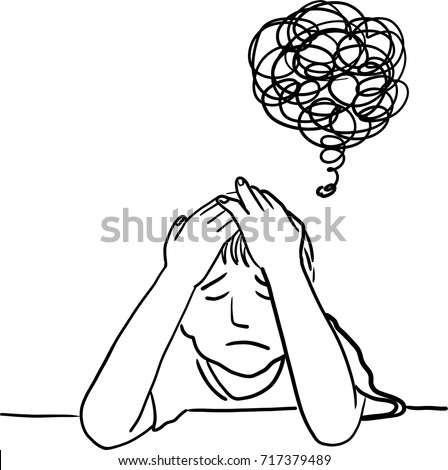 Vector art drawing of Little boy having a headache