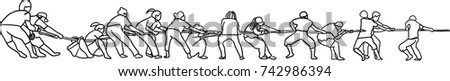 Vector art drawing of People In Tug Of War, partnership concept Foto stock ©