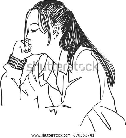 vector art drawing of woman