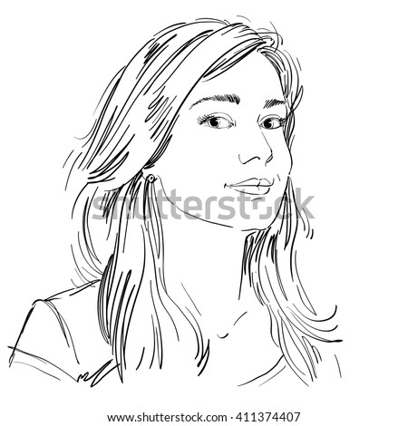 Vector art drawing, portrait of gorgeous dreamy girl isolated on white. Facial expressions, people positive emotions, tender lady.
