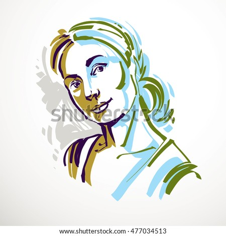 Vector art drawing portrait of romantic girl isolated on for Minimal art face
