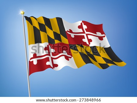 Vector art flags waving illustration:Maryland