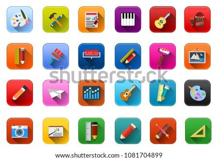 vector art icons set, education and school symbols - graphic illustrations
