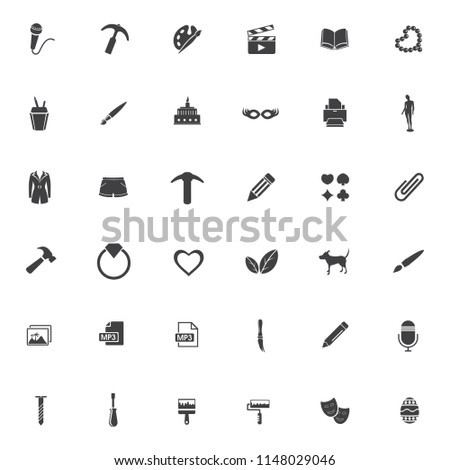 vector art icons set, education and school symbols - graphic illustrations