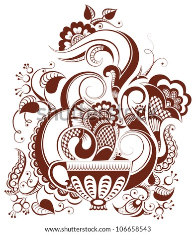 Vector art illustration cup of tea or coffee with floral design in mehndi style
