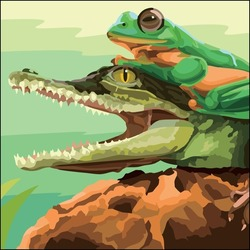 Vector art illustration of a crocodile which is opening its mouth and there is a frog on top of the crocodile