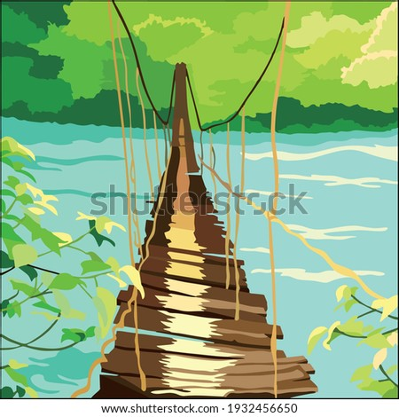 Vector art illustration of a wooden bridge that has begun to brittle to cross a large river Zdjęcia stock ©
