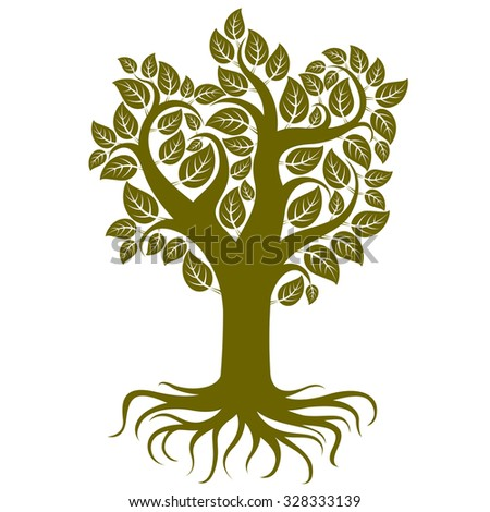 Royalty Free White Tree With Leafs And Roots Vector 291178418