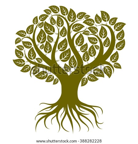 Vector art illustration of branchy tree with strong roots. Tree of life symbolic image, ecology conservation theme.
