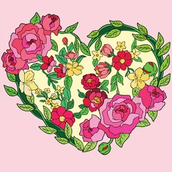 Vector art illustration of flowers forming a heart as a symbol of love and affection