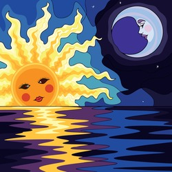 Vector art illustrations of the moon and sun seen on the high seas