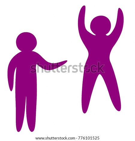 Vector art of a human figure gesturing to another human figure.  Each figure is its own vector . Individual figures and set also available.  Transparent background in vector file.