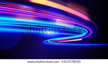 Vector art of dynamic light motion, light trail, high speed effect, traffic motion. light motion effect, slow shutter of traffic.