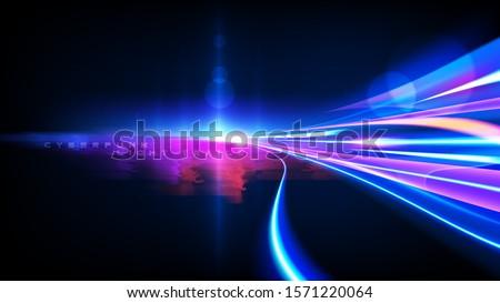 Vector art of dynamic light motion, light trail, high speed effect, traffic motion. light motion effect, slow shutter of traffic, cyberpunk neon.