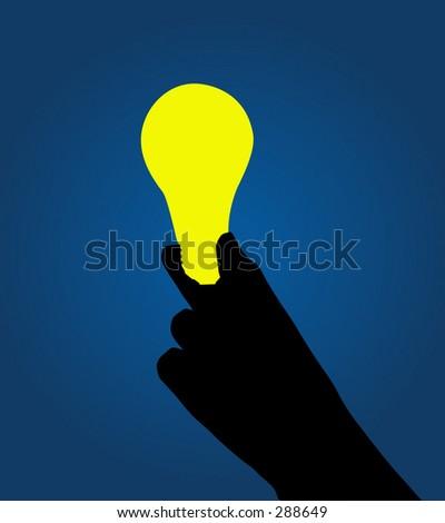 Vector art of hand holding a lightbulb