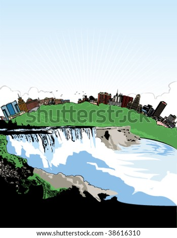 vector art of niagara falls and