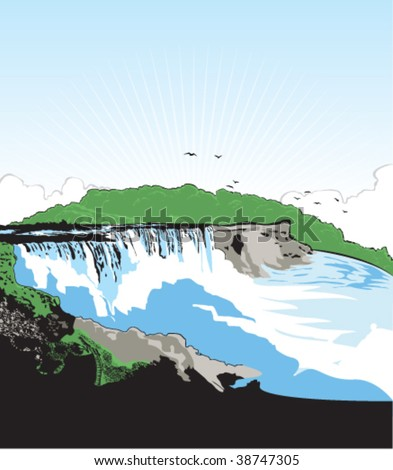 vector art of niagara falls usa