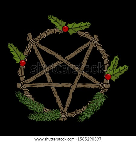 Vector art of pentagram wreath with red berries and fir branches for witch design and decor, print, poster, cover, packing, fabric, apparel, brand. Occult illustration for web page, postcard, article.