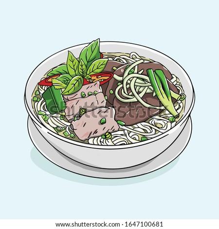 vector art of Pho in Vietnam. Traditional noodle bowl in Vietnam. Pho bo in Hanoi