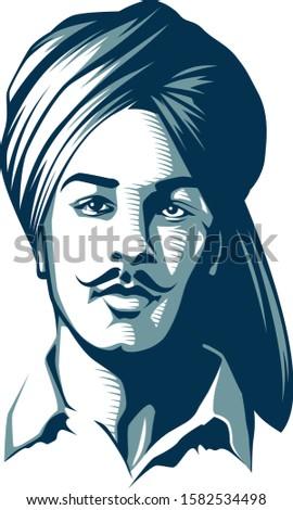vector art of shaheed bhagat singh