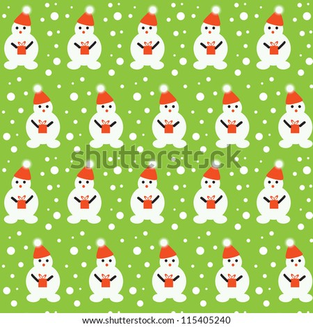 Vector art. Seamless texture of little snowmen and snowflakes./Snowman with gift