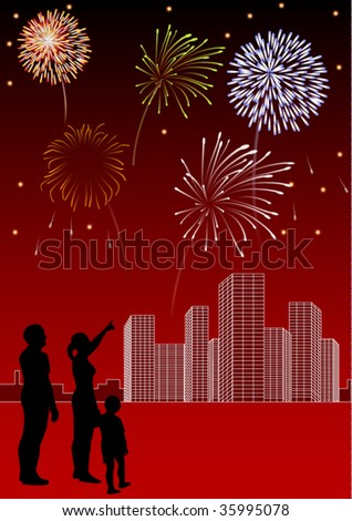 Vector art with fireworks, silhouettes and city panorama