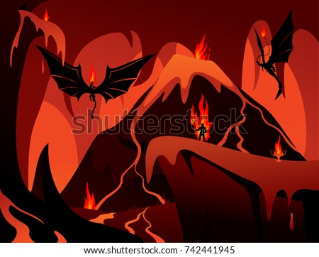 vector art with hell  volcano