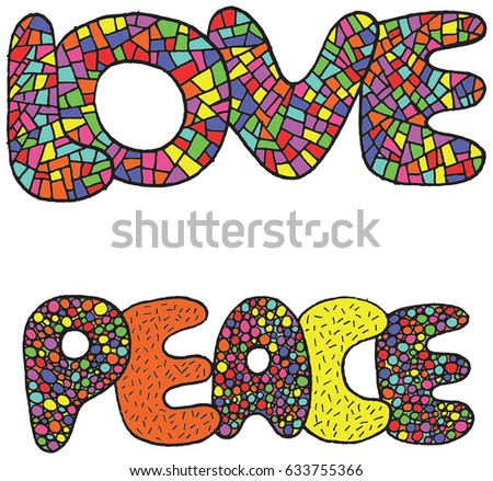 vector art with love and peace