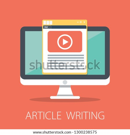 vector article writing design concept, flat style with article news icon. vector Latest news
